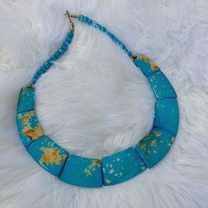 Turquoise Bib Flat Beaded Boho Costume Jewelry